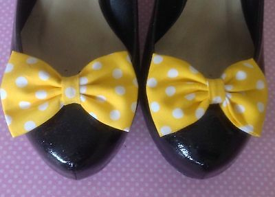 PAIR YELLOW WHITE POLKA DOT SPOT COTTON FABRIC BOW SHOE CLIPS 50s VINTAGE STYLE