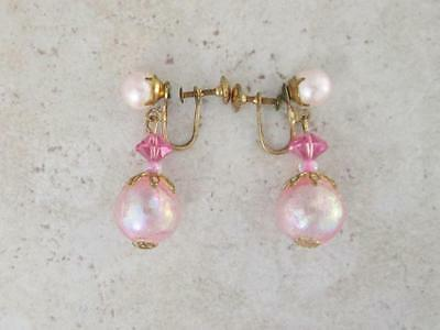 PINK FAUX PEARL CRACKLE GLASS CRYSTAL GOLD TONE SCREW EARRINGS ESTATE E981
