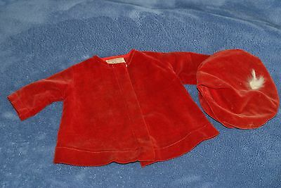 """Vintage Tagged Red Velvet Molly-'es Coat And Hat For 17-18"""" Shirley Temple Doll"""