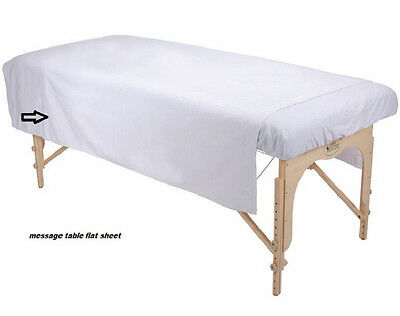 2 White Massage Table Flat Sheet Ribbed Flannel Blanket Supreme Coverage 70X90