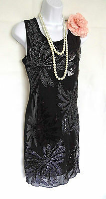 1920's Style Gatsby Vintage Look Charleston Sequin Flapper Dress Size 12/14