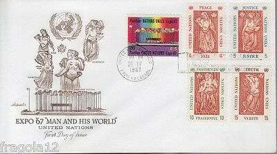 Onu New York 1967 - Expo '67 Man And His World - Fdc Annullo Speciale