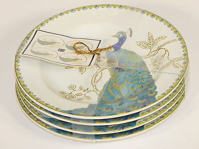 New 222 Fifth Peacock Garden Fine China Porcelain Appetizer Snack Plate Set of 4