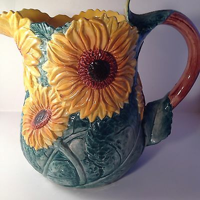 Vintage FITZ & FLOYD Sunflower Pitcher 3Qt. Bright Yellow Flowers Collectible