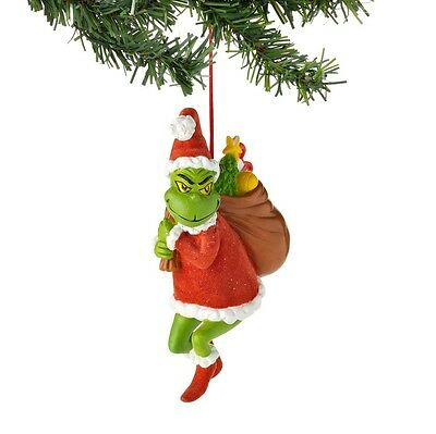THE GRINCH Dr. Seuss Ornament Flocked Sack 4027400 GRINCH STEALING CHRISTMAS