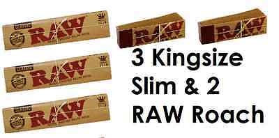 3 RAW Kingsize Slim Rolling Papers & 2 Raw Roach Tips Combo Deal Smoking Skins