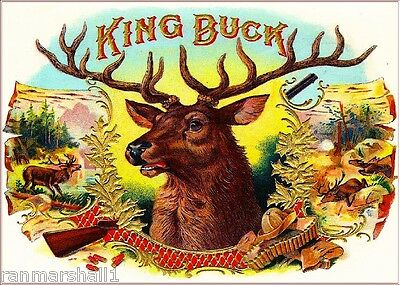 King Buck Deer Smoke Vintage Cigar Tobacco Box Crate Inner Label Print