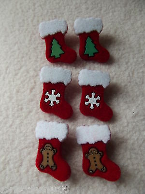 Dress It Up Buttons ~ Christmas Collection ~ 6 Furry Stockings ~ 3 Designs ~