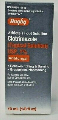Clotrimazole Topical Solution 1% 10 mL Antifungal for Athletes Foot