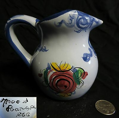 Portuguese Ceramic Pottery Hand Painted Pitcher  Pottery Flowers Blue Signed