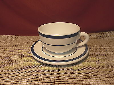 Nautica Dinnerware Portugal Navy Blue on White Pattern Cup & Saucer Set