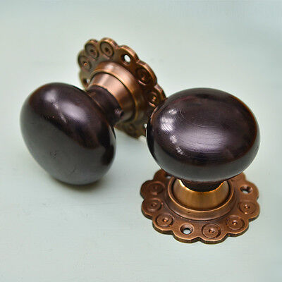 Solid Ebony Bun Door Knobs (Pair) - Aged Brass Collar & Rose