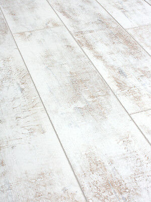 SAMPLE of Distressed White laminate flooring 12mm AC4 Click