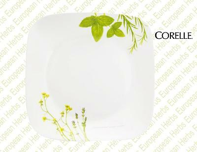 """CORELLE Square EUROPEAN HERBS 9"""" Squared LUNCH Salad PLATE Earth Garden Green"""