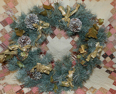 """NICE  """"Blue/Frosty"""" PINE WREATH for Decorating with Gold accents! CHRISTMAS!!"""