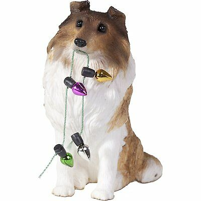 SANDICAST Sculpture Dog Christmas Ornament Lights XSO03201 SABLE COLLIE