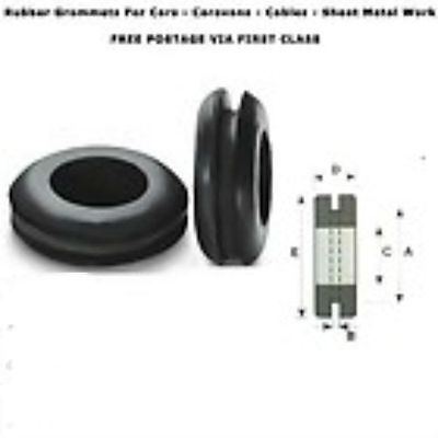 6,9,12,16,20,25,32,38 & 50mm RUBBER OPEN GROMMETS AUTOMOTIVE CABLE WIRING PIPE