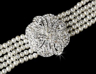 Classic White Pearl Austrian Crystal Choker Bridal Jewelry Necklace Earring Set