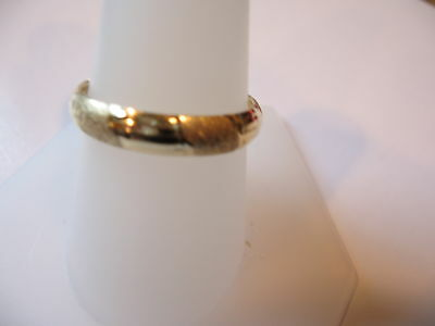 10KT Yellow Gold Band 4 mm Ring Diamond Cut Stackable Matte & Shiny Finishes NEW