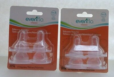 2 Evenflo Classic Silicone Nipples 4 Nipples 6m+