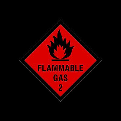Flammable Gas Warning Sign, Sticker - 100x100mm