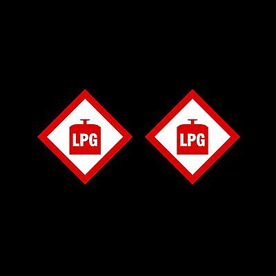 LPG Warning Sign, Sticker - 100x100mm - *Pack of 2* - Caravan, Camping