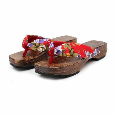 99# Adult Lady Wooden Geta Yukata Kimono Shoes Zori Sandals Cosplay Red ~ 24cm