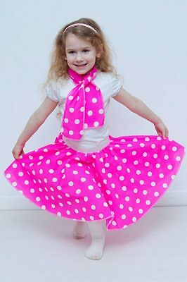 "Bambine Bambini 50s 12/"" Rete in Tutu A Pois Rock N Roll Gonna 50s Costume"
