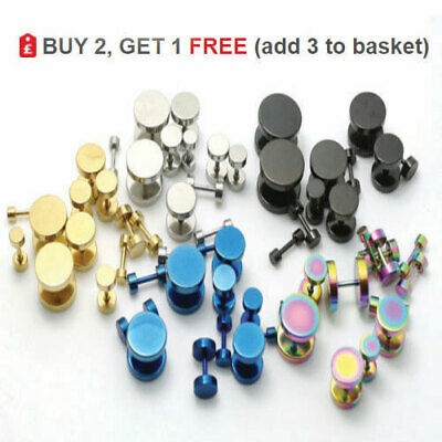 Cheater Fake Ear Plug Faker Illusion Stud Gold Silver Black Earring 3mm - 14mm