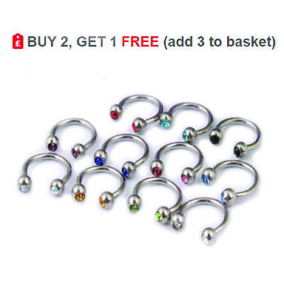 Horseshoe Bar Circular Barbell Ring CBR 16G Steel Nose Ear Colour CRYSTAL Balls
