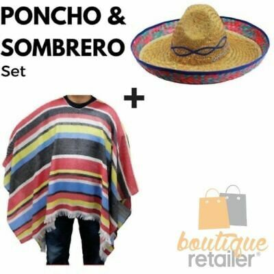 MEXICAN PONCHO & SOMBRERO SET Costume Wild West Cowboy Party Blanket Indian New