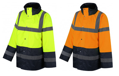 Traega TJK03 Hi Vis 2 Tone Parka Style Waterproof Safety Traffic Jacket Coat