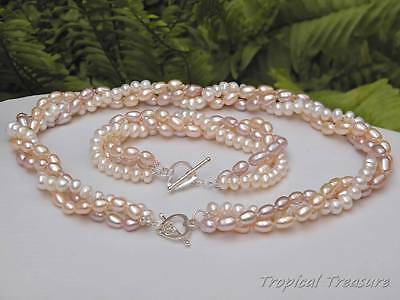 Multicolour 3 Strand Freshwater Pearl Set - 925 SOLID Silver clasp