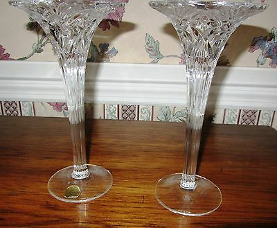 2 Crystal Cristal d'Arques FLUTED TOP Glass Candle Stick Holders PARIS FRANCE