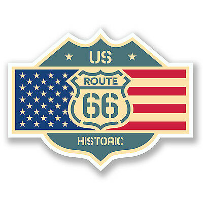 2 x US Route 66 Flag Stickers USA American Car Bike Travel Laptop Decal #4043/SV