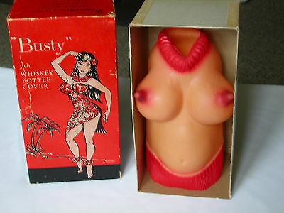 VINTAGE 1960'S - BUSTY 5TH WHISKEY BOTTLE COVER - With Box