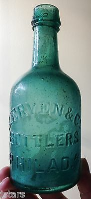c. 1860s PHILADELPHIA, PA, S. ERVEN BROWN STOUT BEER BOTTLE, RARE