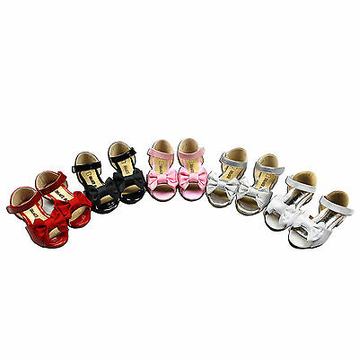NEW Girls Sandals Leather sz 3-8 and 8.5 for 1-4yr WHITE-RED-PINK-SILVER-BLACK
