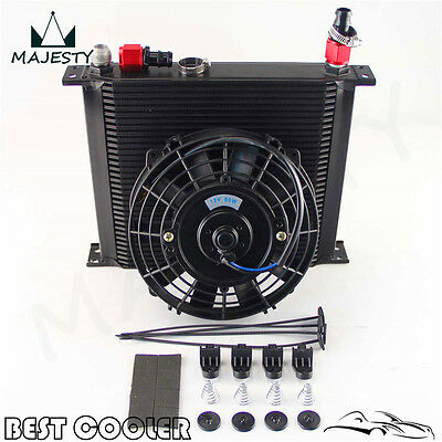 """10-AN Universal 34 Row ENGINE Oil Cooler with fittings + 7"""" Electric Fan Kit BK"""