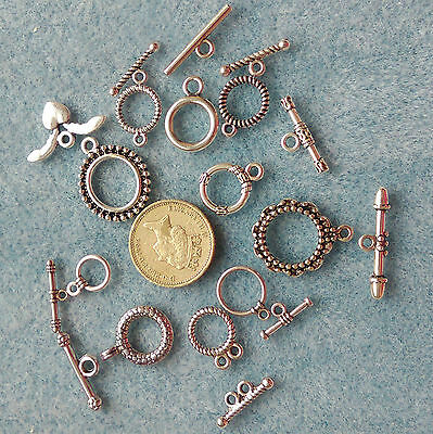 10pcs Tibetan Style Toggle Clasps Mixed Shape Antique Silver  findings