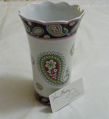 Vera Bradley PINK ELEPHANTS POTTERY VASE Utensils LARGE Beautiful VERY RARE NEW~