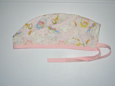 Surgical Scrub Hats caps Easter Bunnies & Baskets light Pink