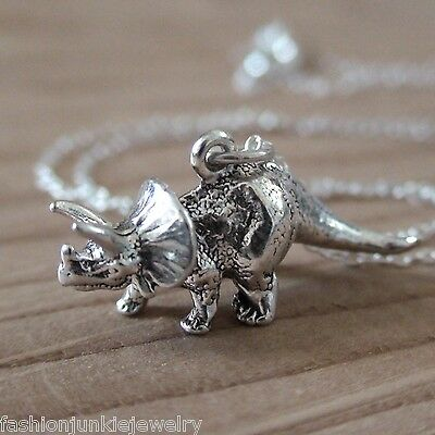 Triceratops Necklace - 925 Sterling Silver - Triceratops Charm Dinosaur *NEW*