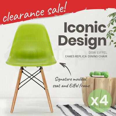 4 x RETRO REPLICA EAMES Dining Chairs Kitchen Beech Chair Eiffel DSW Cafe Green
