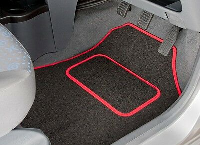 Peugeot 108 (2014 Onwards) Tailored Car Mats In Black With Red Trim (3412)