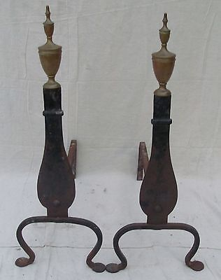 Pair Of Late 19Th C Federal Style Knife Blade Antique Andirons W/ Penny Feet