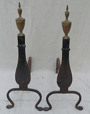 Pair Of Late 19Th Century Federal Style Knife Blade Andirons W/penny Feet