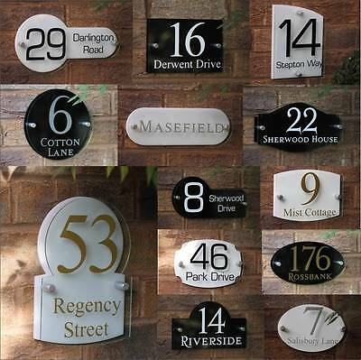 Modern House Sign Door Number Street Name Address Plaque Glass Effect Acrylic