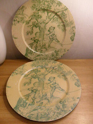 BEAUTIFUL SHABBY CHIC TOILE DE JOUY PLASTIC CHARGER / UNDER PLATES X 2