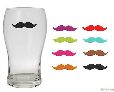 NEW MOUSTACHE DRINKS MARKER Set of 8 Re-usable Silicone Wine Glass PURPLESPOILZ